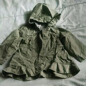 Olive green ruffle jacket